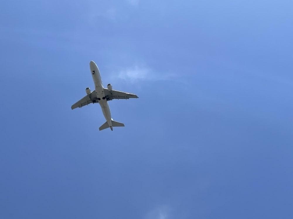 どこかへ飛ぶ飛行機の裏側